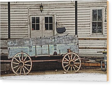 Old Mill And Wagon Wood Print by Cheryl Cencich