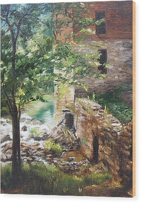 Wood Print featuring the painting Old Mill Stream I by Lori Brackett