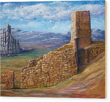 Wood Print featuring the painting Old Mission Landscape New Mexico by Lenora  De Lude