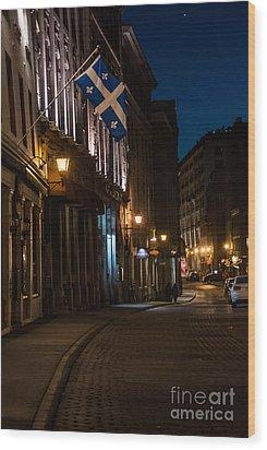 Old Montreal At Night Wood Print by Cheryl Baxter
