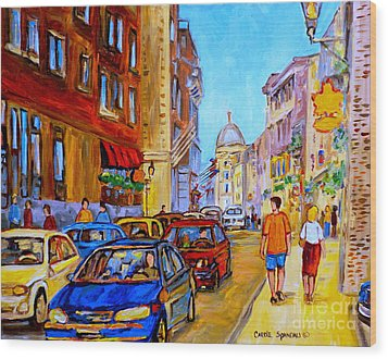 Wood Print featuring the painting Old Montreal by Carole Spandau