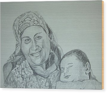 Old Mother With New Baby Wood Print by Esther Newman-Cohen