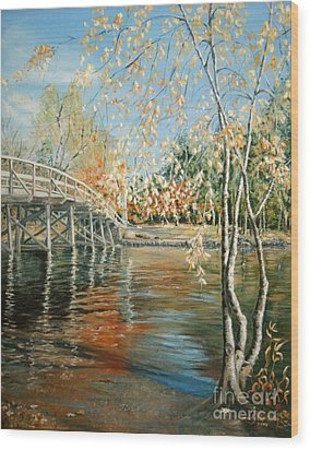 Old North Bridge Concord Wood Print by Wendy Griffiths