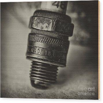 Old Number 48 Spark Plug Wood Print by Wilma  Birdwell