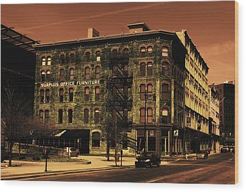 Old Office Furniture Building Wood Print