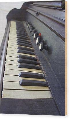 Old Organ Keyboard Wood Print by Laurie Perry