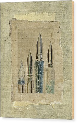 Old Pens Old Papers Wood Print by Carol Leigh