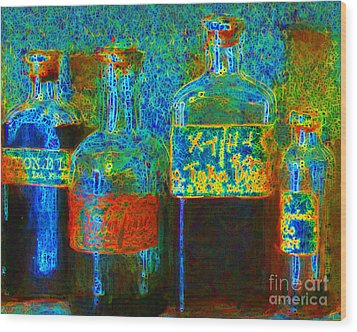 Old Pharmacy Bottles - 20130118 V1a Wood Print by Wingsdomain Art and Photography