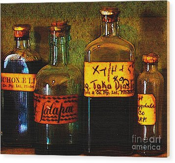 Old Pharmacy Bottles - 20130118 V1b Wood Print by Wingsdomain Art and Photography