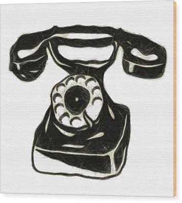 Old Phone Wood Print by Michal Boubin