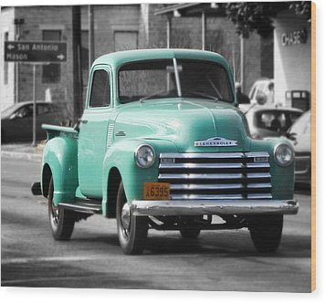 Old Pickup Truck Photo Teal Chevrolet Wood Print
