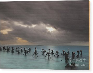 Old Pier In The Florida Keys Wood Print by Keith Kapple