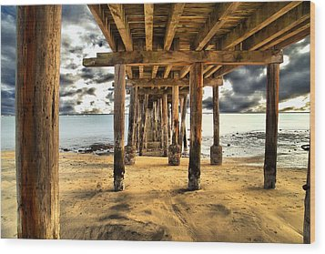 Old Pillar Point Pier Wood Print