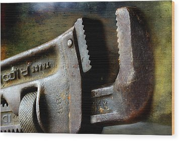 Old Pipe Wrench Wood Print by Michael Eingle