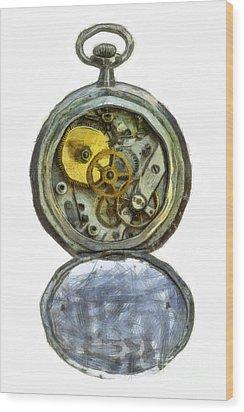 Old Pocket Watch Wood Print by Michal Boubin