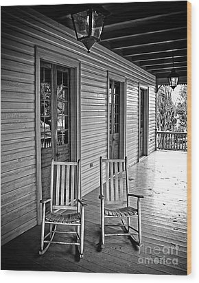 Old Porch Rockers Wood Print by Perry Webster