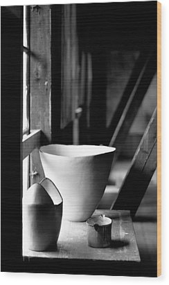 Old Pots At The Window Wood Print by Tommytechno Sweden