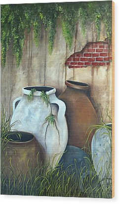 Old Pottery Wood Print by Katia Aho