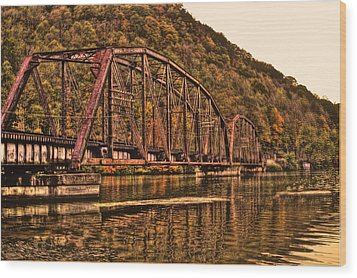 Wood Print featuring the photograph Old Railroad Bridge With Sepia Tones by Jonny D
