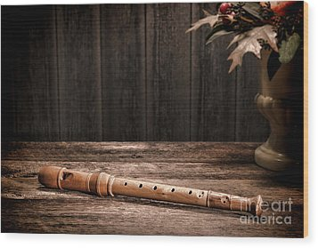 Old Recorder Wood Print by Olivier Le Queinec