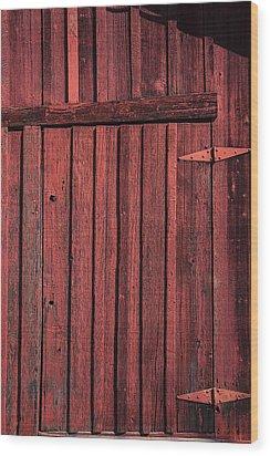 Old Red Barn Door Wood Print by Garry Gay