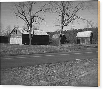 Old Red Barn In Black And White Wood Print by Amazing Photographs AKA Christian Wilson