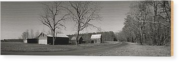 Old Red Barn In Black And White Long Wood Print by Amazing Photographs AKA Christian Wilson