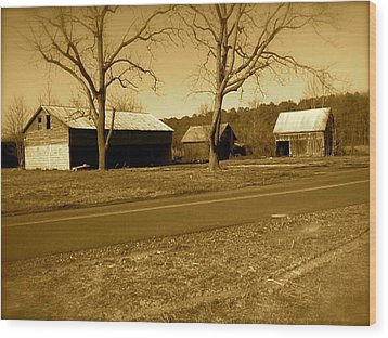 Old Red Barn In Sepia Wood Print by Amazing Photographs AKA Christian Wilson