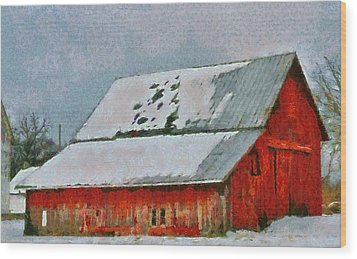 Old Red Barn In Winter Wood Print by Dan Sproul