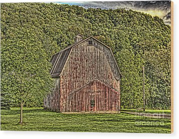 Wood Print featuring the photograph Old Red Barn by Jim Lepard