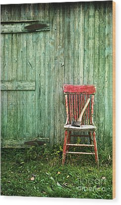 Wood Print featuring the photograph Old Red Chair Near A Barn/digital Oil Painting by Sandra Cunningham