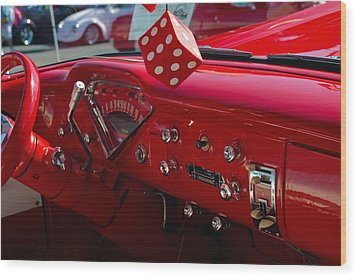 Old Red Chevy Dash Wood Print by Tikvah's Hope