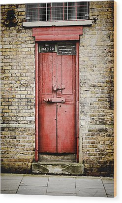 Old Red Door Wood Print by Heather Applegate