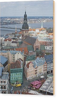 Old Riga City Roofs Wood Print