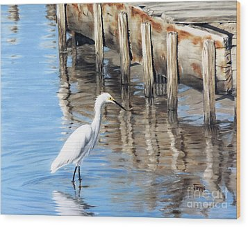 Old River Wharf In Matagorda Wood Print by Jimmie Bartlett
