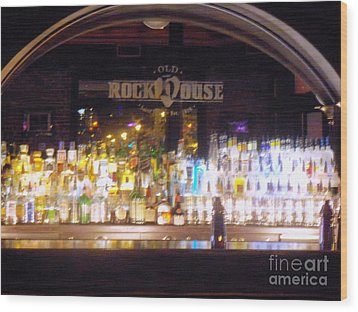 Wood Print featuring the photograph Old Rock House Bar by Kelly Awad