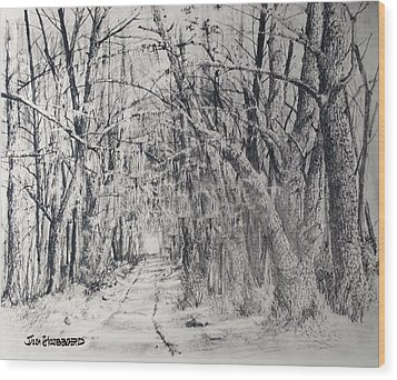 Wood Print featuring the drawing Old Rte 101 by Jim Hubbard
