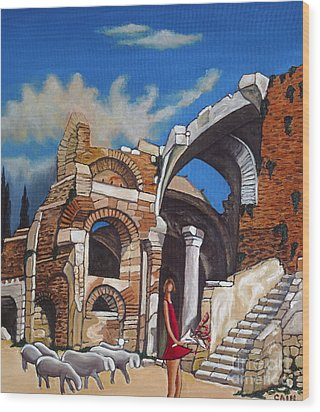 Old Ruins Flower Girl And Sheep Wood Print by William Cain