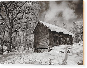 Wood Print featuring the photograph Old Rural Barn In A Winter Landscape by Christian Lagereek