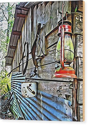 Old Rustic Building - Aunt Tinys Shed  Wood Print by Rebecca Korpita