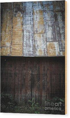 Old Rusty Tin Roof Barn Wood Print by Edward Fielding