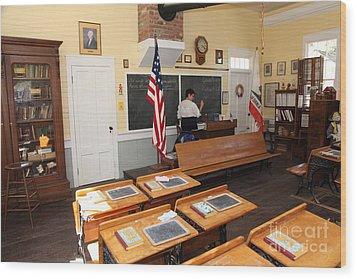 Old Sacramento California Schoolhouse Classroom 5d25780 Wood Print by Wingsdomain Art and Photography