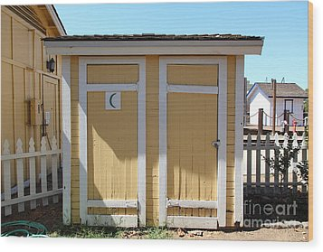 Old Sacramento California Schoolhouse Outhouse 5d25549 Wood Print by Wingsdomain Art and Photography
