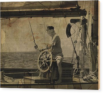 old sailor A vintage processed photo of a sailor sitted behind the rudder in Mediterranean sailing Wood Print