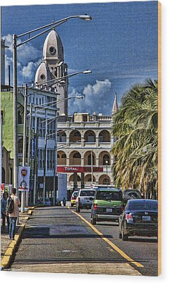 Old San Juan Cityscape Wood Print by Daniel Sheldon