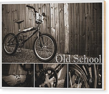 Old School Bmx - Pk Collage Bw Wood Print by Jamian Stayt