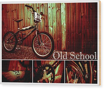 Old School Bmx - Pk Collage Colour Wood Print by Jamian Stayt