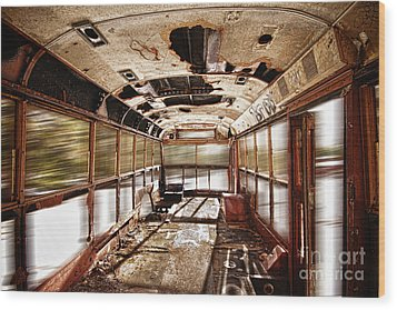 Old School Bus In Motion Hdr Wood Print by James BO  Insogna