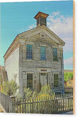 Old School House Bannack Ghost Town Montana Wood Print by Jennie Marie Schell