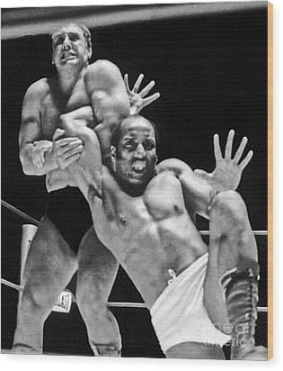 Wood Print featuring the pyrography Old School Wrestling Arm Lock By Tony Rocco On Sir Earl Maynard by Jim Fitzpatrick